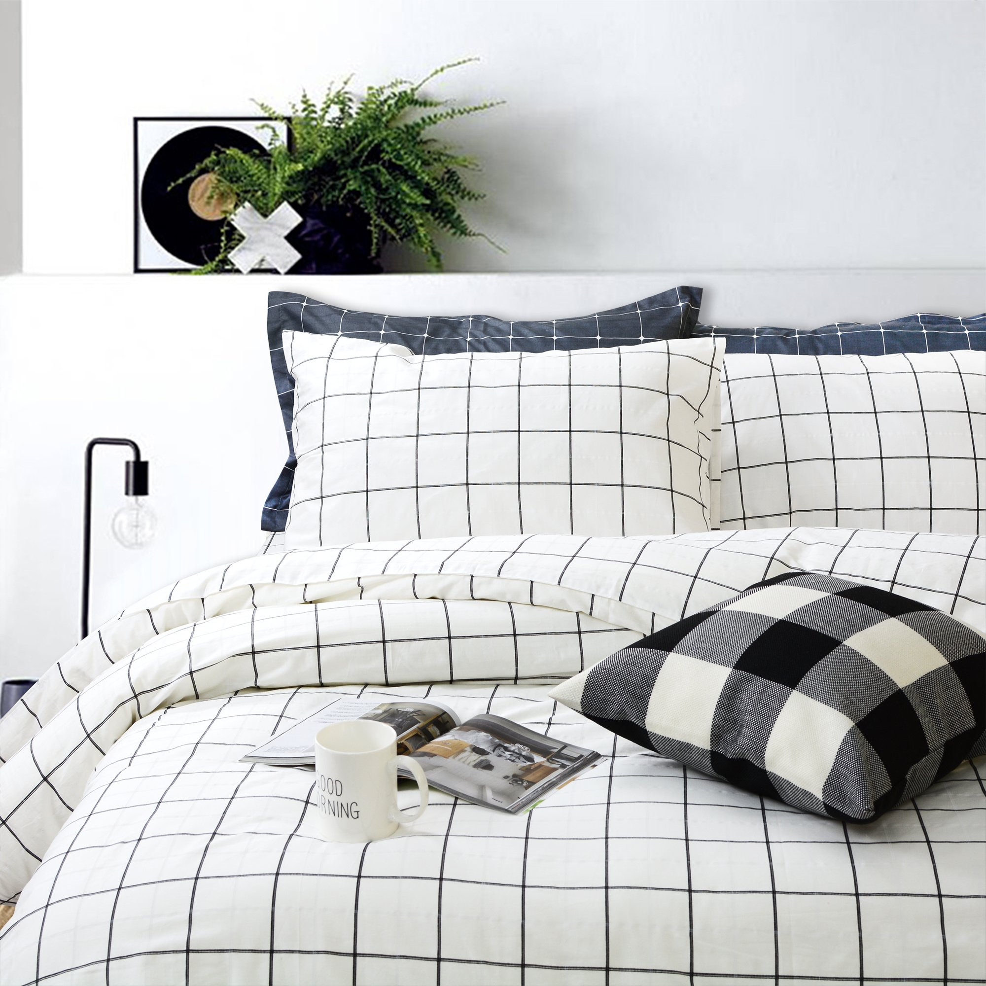 FADFAY Black and White Grid Duvet Cover Sets Lightweight Cotton Bedding Set Lattice Checkered Reversible White Duvet Cover Bedding Collection 3 Pieces,1duvet Cover & 2pillowcases,Twin Size
