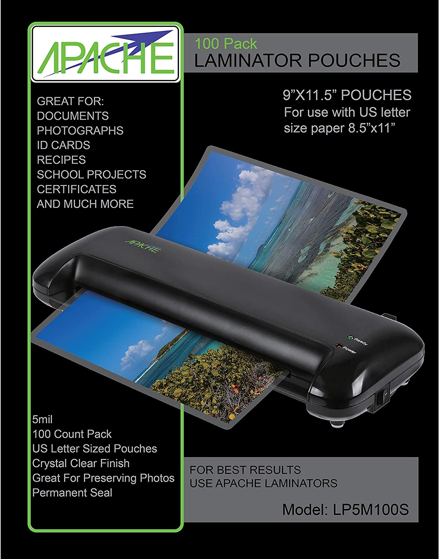 Apache Laminating Pouches 5 mil 5mil, 4x6 Photo, 500 Pack