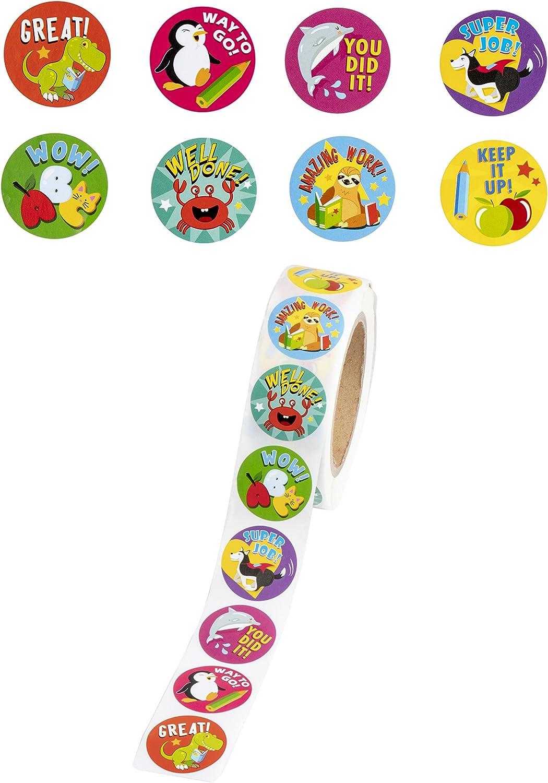 Amazon Com Animal Reward Sticker Roll Set 1000 Pieces Office Products