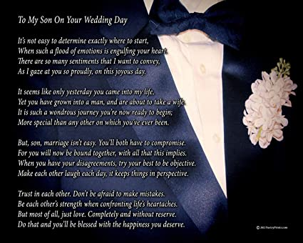 To My Son On Your Wedding Day - One Parent - Poem Print