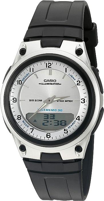 Casio Mens AW80-7AV World Time Databank 10-Year Battery Black Band Watch