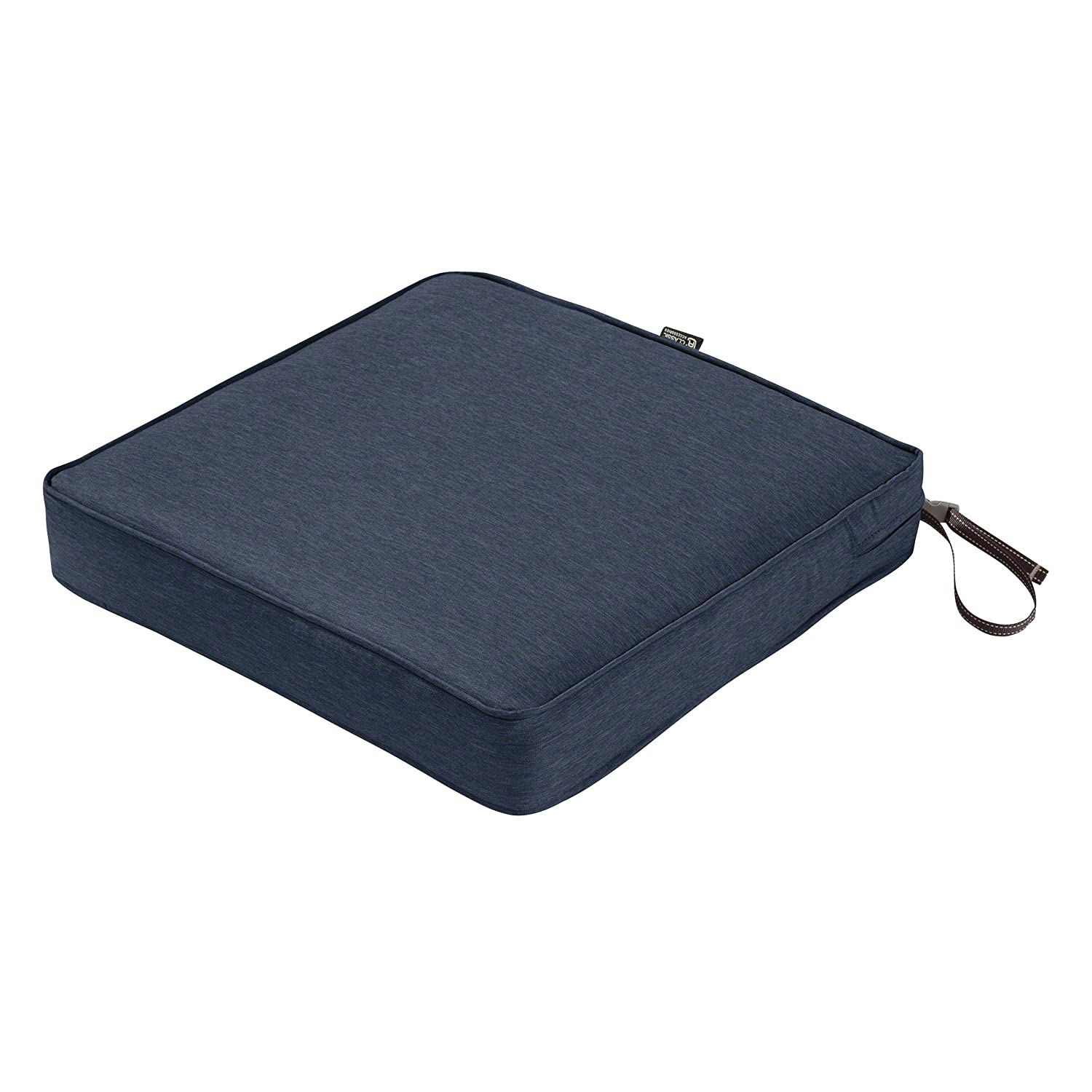 "Classic Accessories Montlake Seat Cushion Foam & Slip Cover, Heather Indigo, 19x19x3"" Thick"