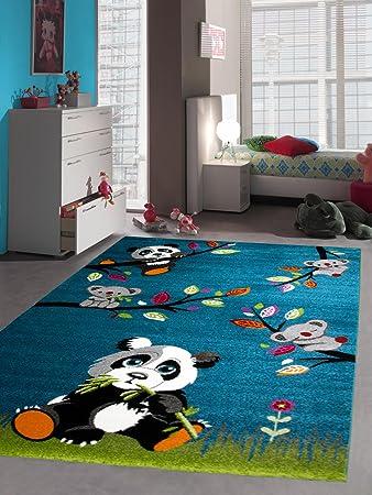 Kinderteppich Kurzflor Panda Türkis Blau Schwarz Grün Weiss Bunt Größe  80x150 Cm