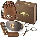 Beard Grooming Kit for Men - Boar Bristle Beard Brush, Sandalwood Beard Comb and Facial Hair Trimming Scissors by GentlemanRa.