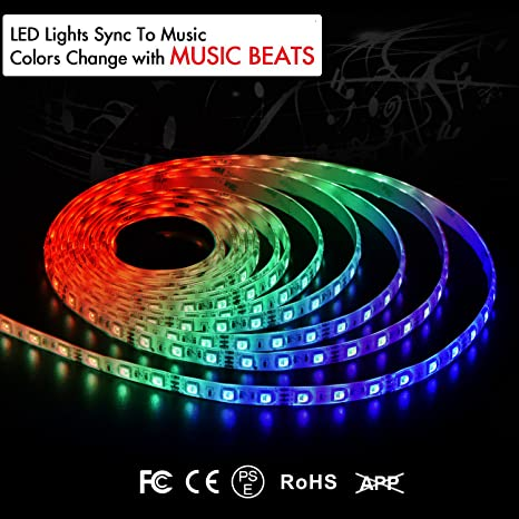 Amazoncom Lkarm Led Strip Lights Sync With Music 12v Music Sync