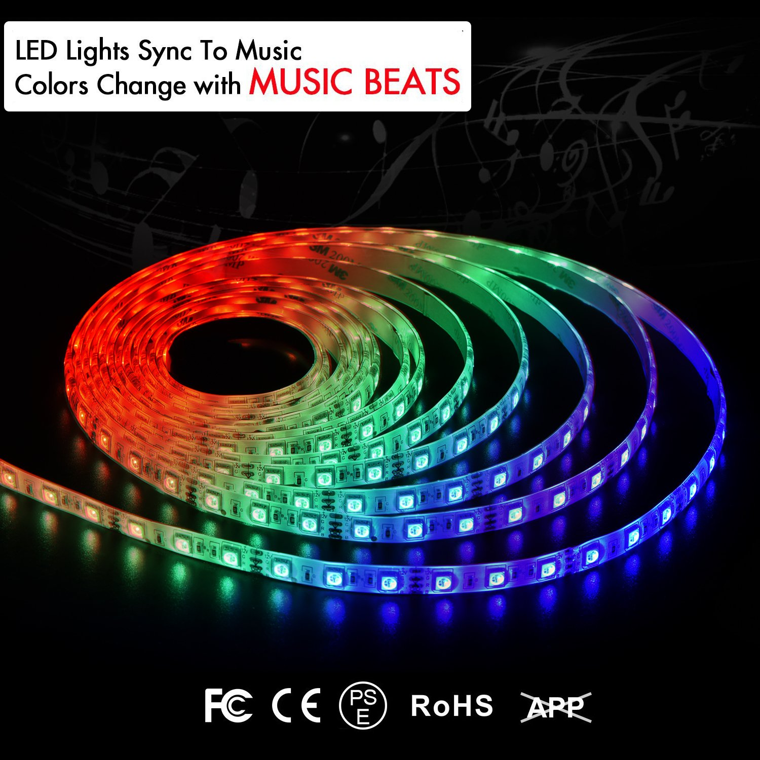 LKARM LED Strip Lights Sync with Music, 12V Music Sync Waterproof 16 Colors RGB LED Strip Lights 16.4ft Flexible with 3M Tape/ 300 LED SMD 5050/IR Controller, DIY Christmas Party & Decoration