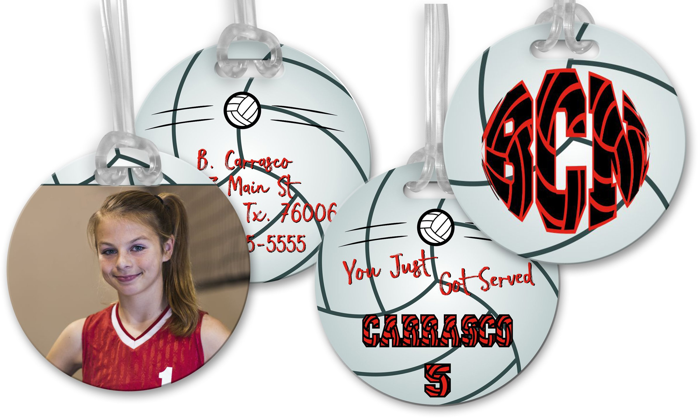 Customized 2-Sided Bag Tag - Volleyball - 4 Inch Round