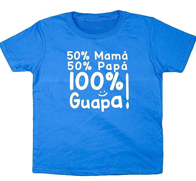 HippoWarehouse 50% Mamá 50% Papá 100% Guapa!! camiseta manga corta niños