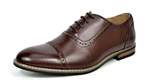 Bruno HOMME MODA ITALY PRINCE Men's Classic Modern Oxford Wingtip Lace Dress Shoes,PRINCE-5-DARK-BROWN,15 D(M) US