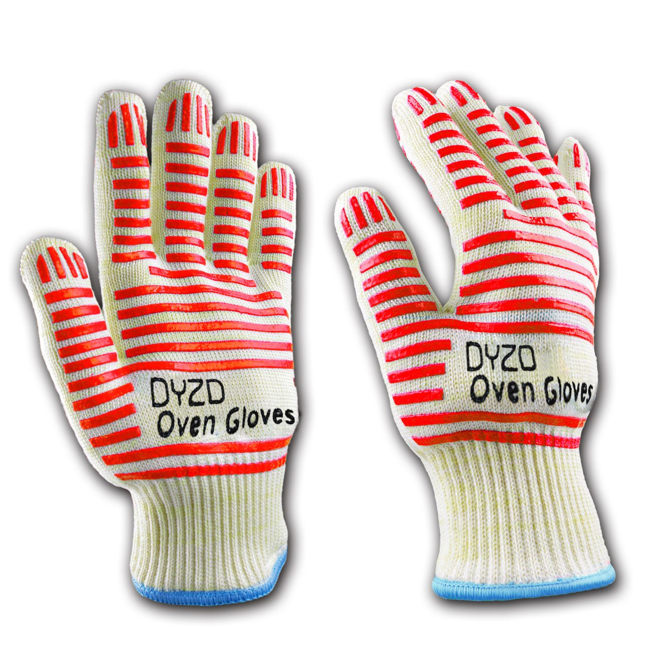 Premium Quality Heat Resistant Oven Gloves, Non-Slip Silicone, One Size fits Most, Flexible & Lightweight, Best for Oven, Fireplace, Barbecue, Baking, Microwaving, 1 Pair (White) ZHAOWEI