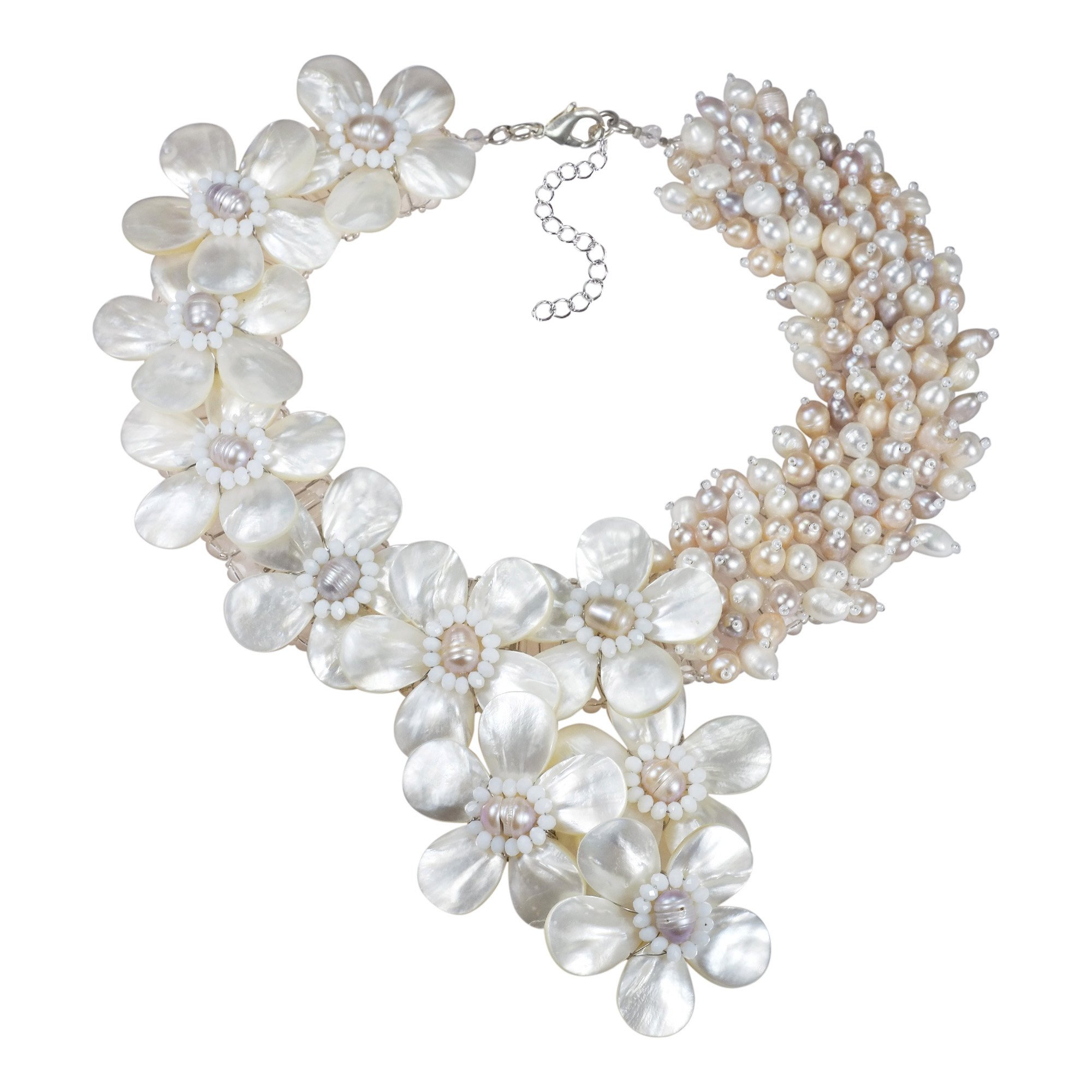 Elegant Blush Romance Mother of Pearl & Cultured Freshwater Pearl Floral Collar Necklace