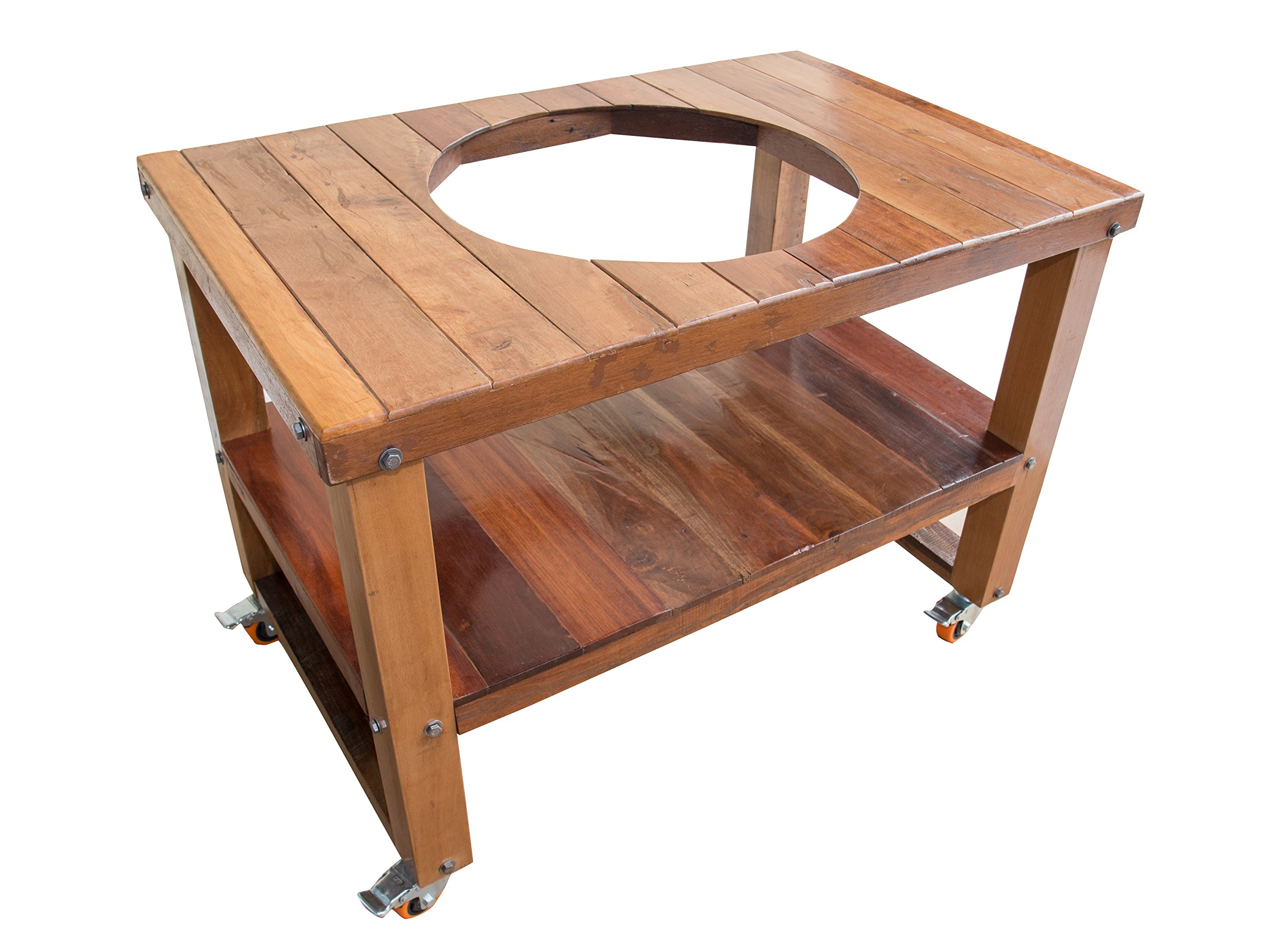 Barbecue Hardwood Tables ''Center Hole'' (21 inch, Indoor, Outdoor, Big Green Egg, Fit for Kamado Joe, Party, BBQs and Everyday Use)
