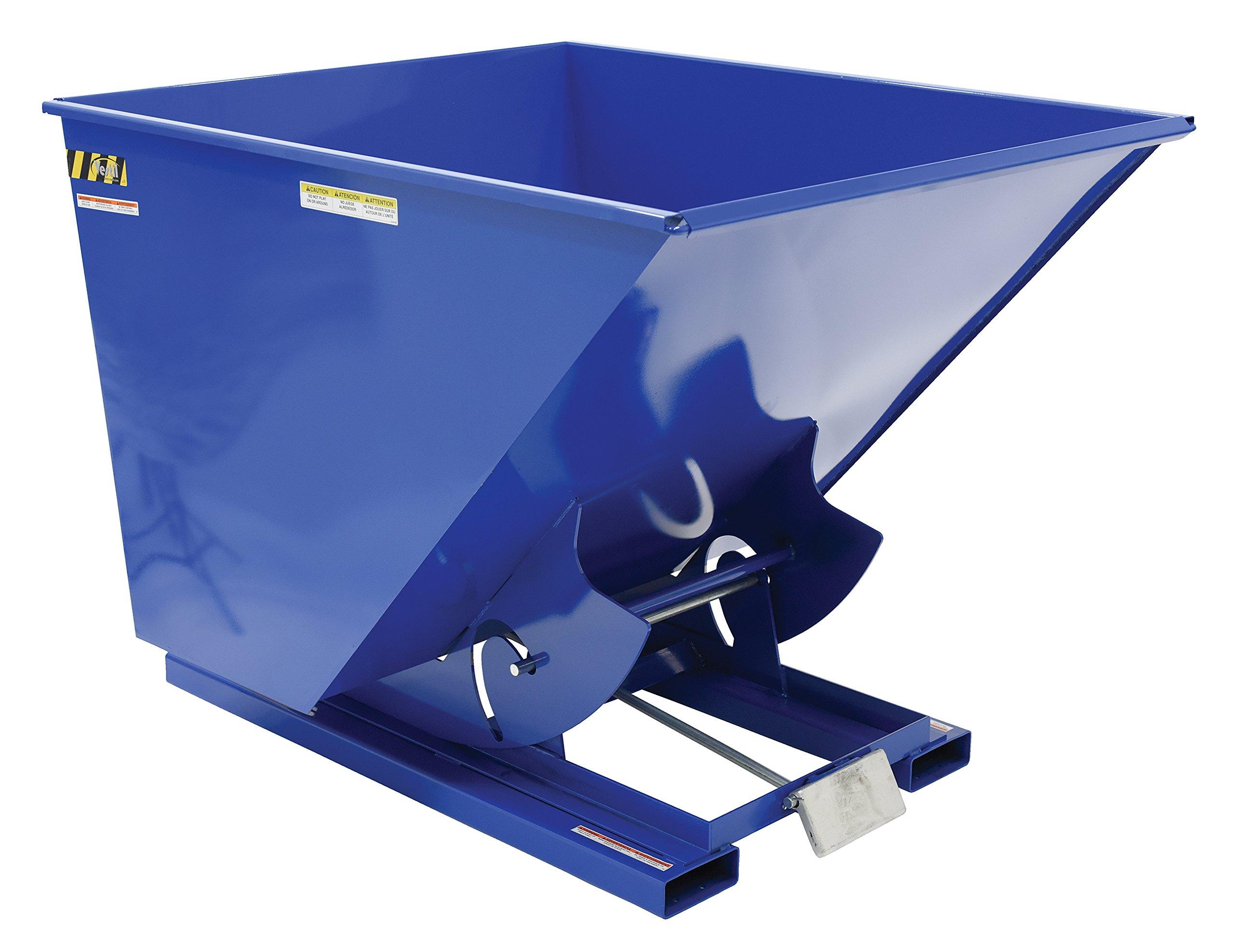 Vestil D-200-MD Medium Duty Steel Self-Dumping Hopper with Bumper Release, 4000 lbs Capacity, Overall L x W x H (in.) 68-5/16'' x 56-5/8'' x 51-13/16'', Blue