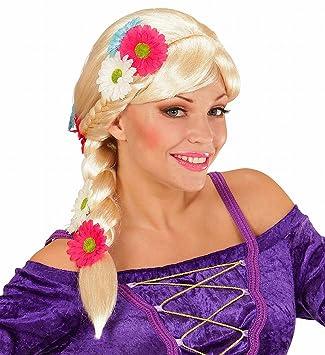 WIDMANN 06751 - peluca de Rapunzel, con flores y lazos, talla única, Rubio