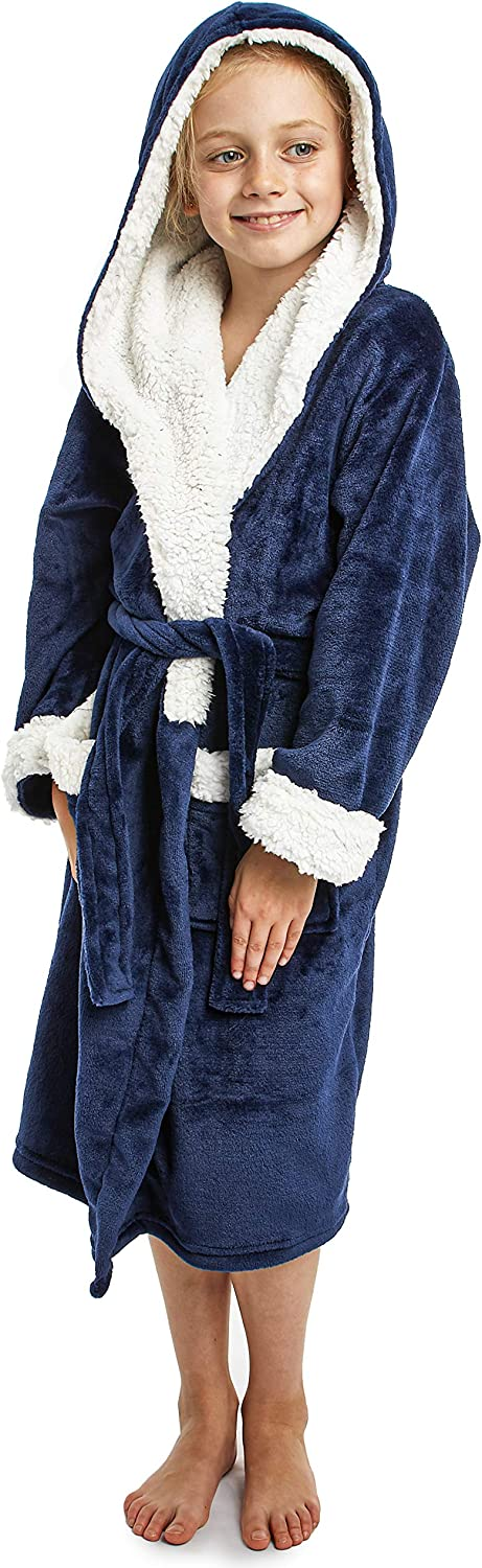 CityComfort Fleece Dressing Gown Kids Towelling Robe Boys Bathrobe Plush Super Soft 5-6 Years, Blue Navy