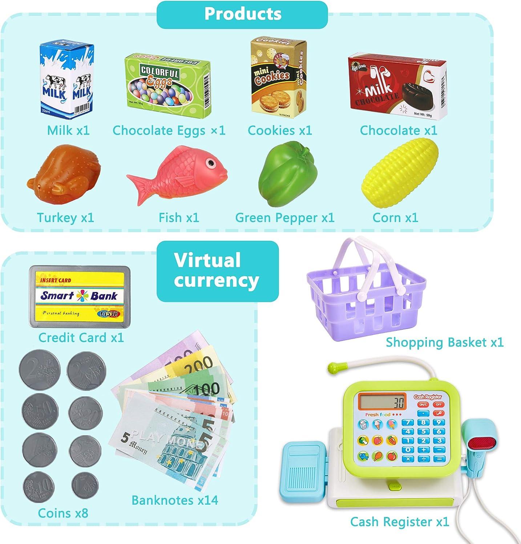 HERSITY Caja Registradora Juguetes Alimentos Supermercado de Juguetes con Sonido para Infantil Ni/ños Verde