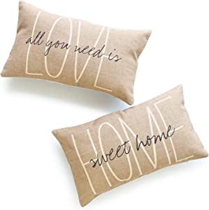 Hofdeco Decorative Lumbar Pillow Cover HEAVY WEIGHT Cotton Linen His and Her Tan Home Sweet Home Love Is All You Need 12