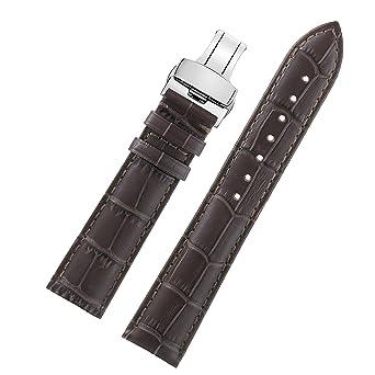 26 mm relojes correa de cuero plegable de plata de color marrón oscuro exclusivos de ancho