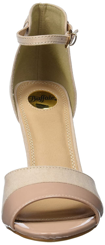 Buffalo 312339 IMI SUEDE PAT Beige PU Damen Knöchelriemchen Sandalen Beige PAT (Nude 01) 42014b