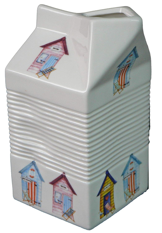 Jarra con forma de cartón de leche de cerámica blanca ...