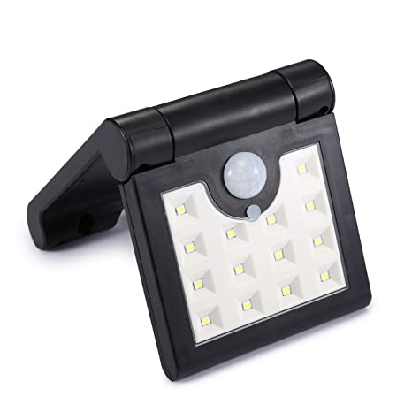 Luz de Seguridad Solar, 14 LEDs Luz de Sensor de Movimiento Solar Plegable, Luz