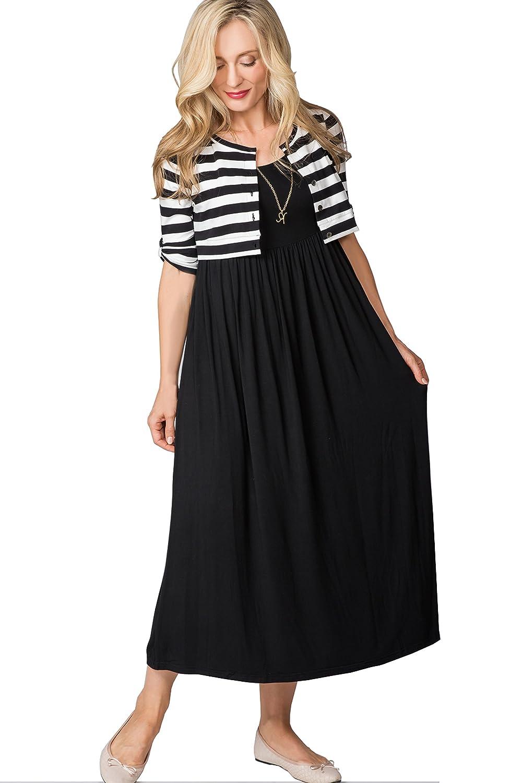 674faf4bf54a2 Maternity Nursing Breastfeeding Summer Casual Fake Layered Maxi Dress 3/4  Sleeve at Amazon Women's Clothing store: