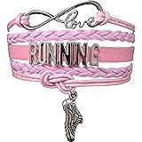 Running Gifts- Runner Bracelet, Running Jewelry, Adjustable Running Charm Bracelet- Perfect Cross Country, Track, Marathon Gifts