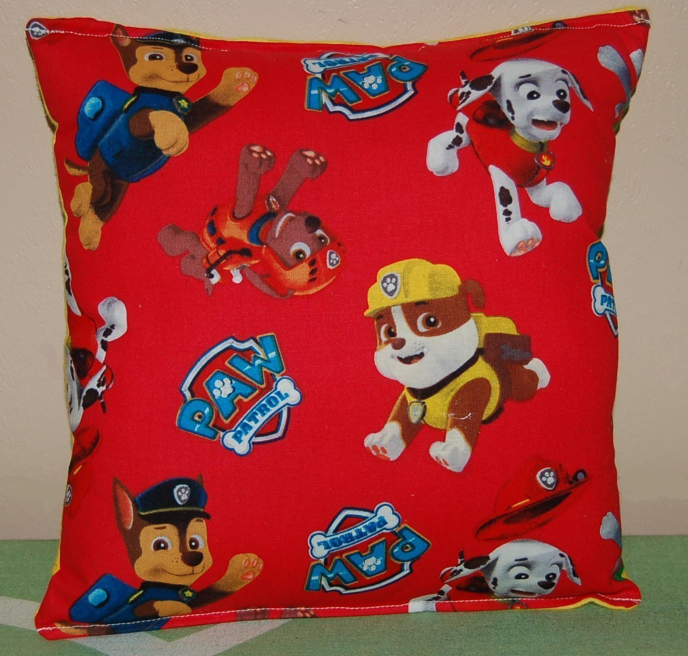"Paw Patrol Pillow Red Paw Patrol Pillow Chase, Marshall, Zuma, Rubble, Rocky Handmade in USA is approximately 10"" X 11"