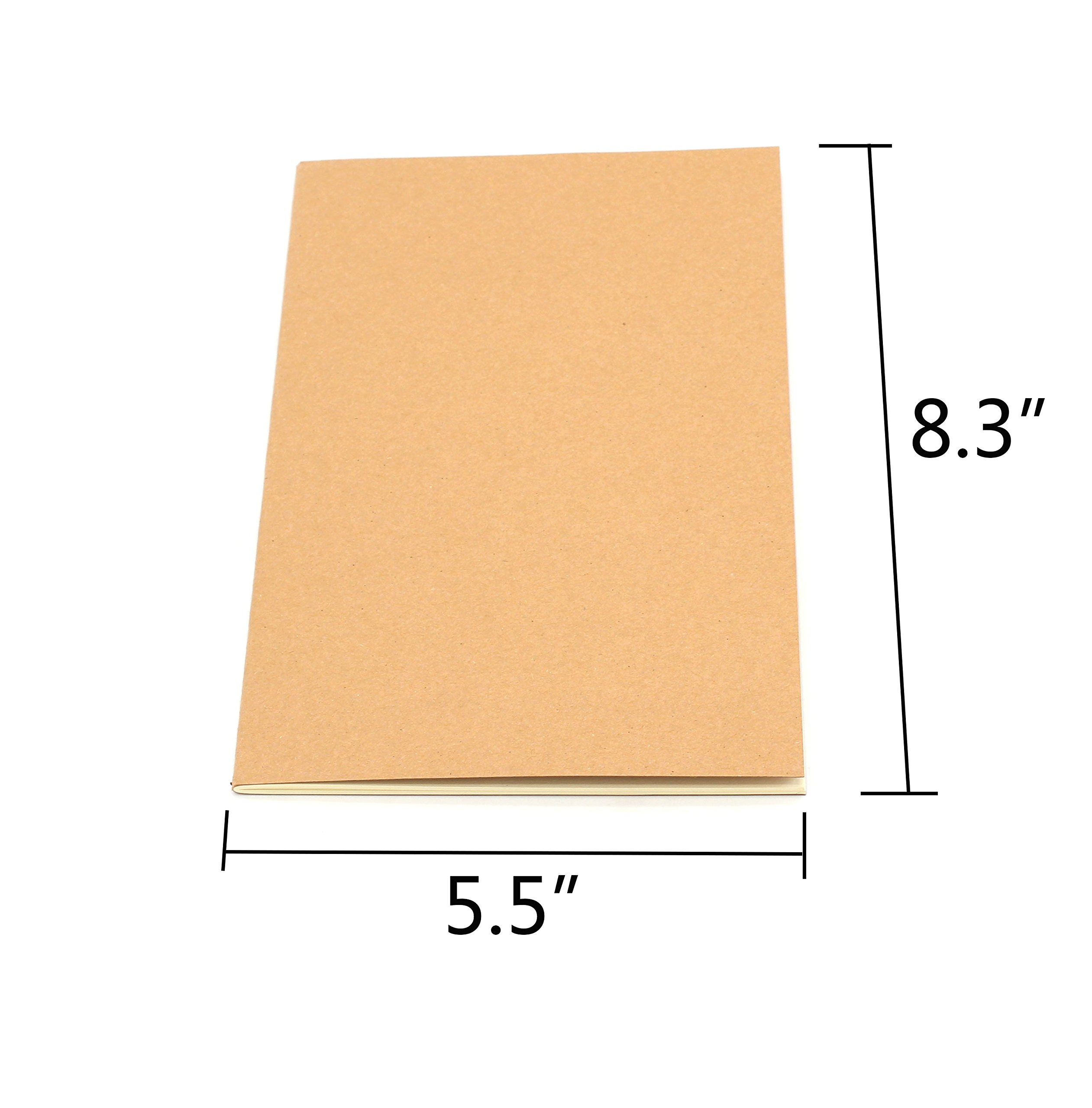 Tueascallk Travel Journal, Kraft Brown Soft Cover Notebook, A5 Specifications(5.5'' x 8.3''), College Ruled Paper,Row Spacing 0.3'', 60 Pages/30 Sheets, 6 Packs by Tueascallk (Image #3)