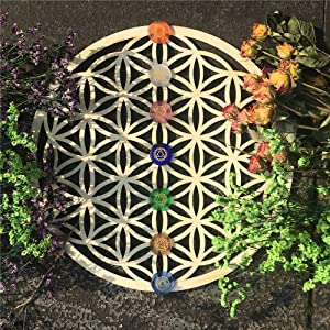 """11.5"""" Flower of Life Wooden Crystal Grid Board (stone not included)–Sacred Geometrical Wall Art"""
