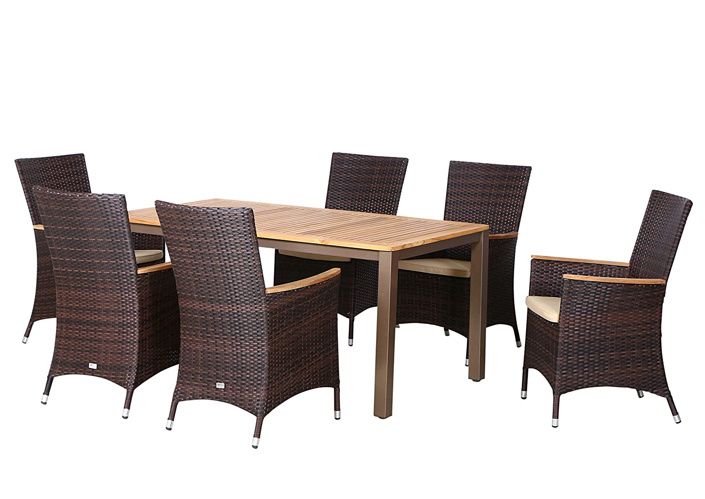 13-teilige Luxus Aluminium Teak Polyrattan Geflecht Gartenmöbelgruppe Tulsa , 6 Diningsessel, 6 Auflage und ein Teaktisch Geneva 160x90, braun - maron (braun schwarz)