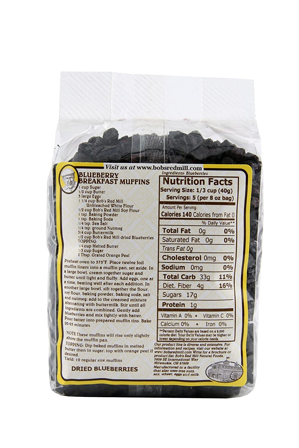Amazon : Bob's Red Mill Dried Blueberries, 8ounce : Dried Fruits :  Grocery & Gourmet Food