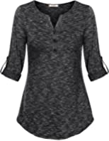 Vivilli Women's Henley V Neck Cuffed Sleeve Space Dyed Casual T Shirt Tops
