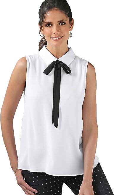 Blusa Cuello Camisero con Lazo a Contraste de Quita y pon Mujer by Ven - 007399, Blanco, 4XL: Amazon.es: Ropa y accesorios