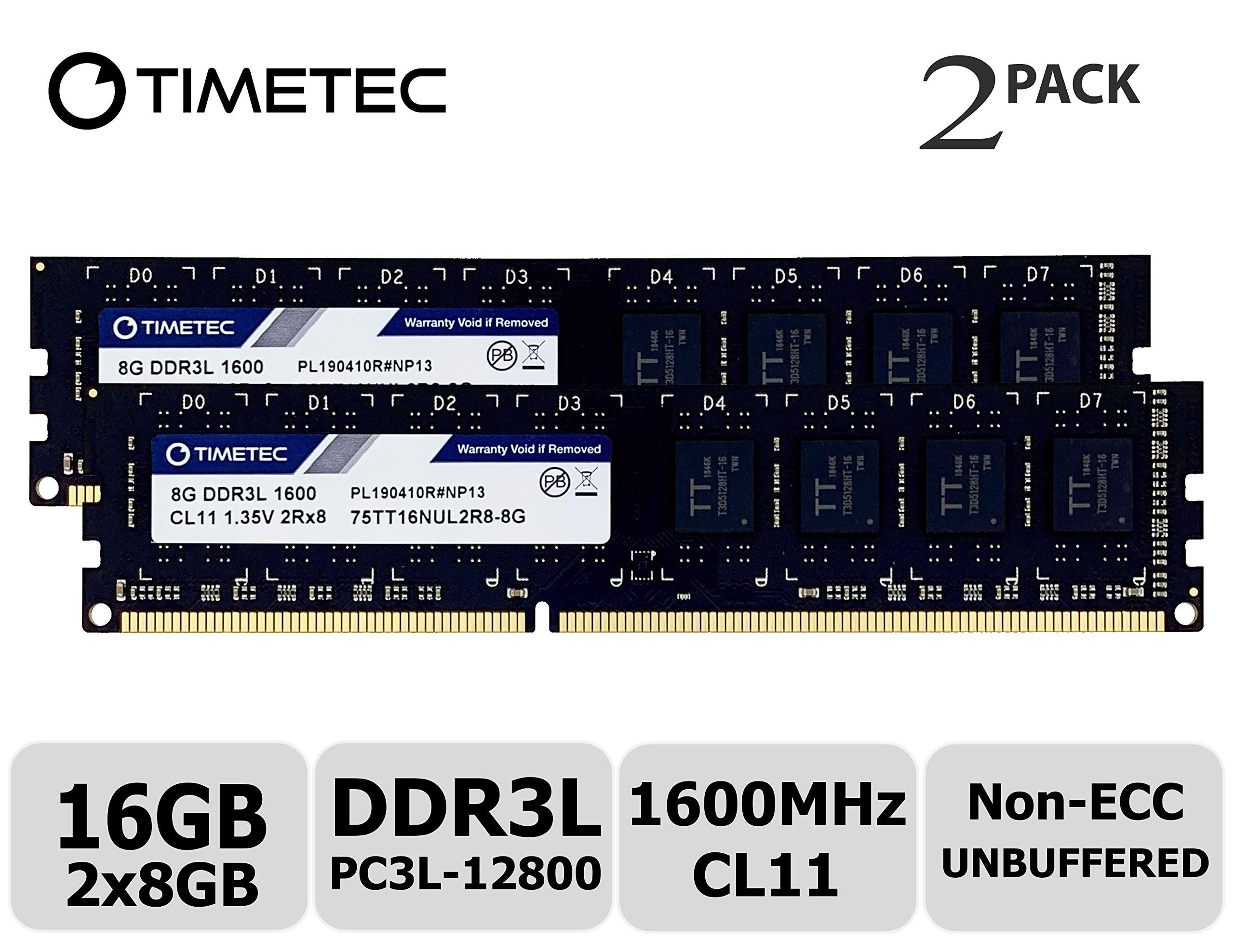 Memoria RAM 16GB Timetec Hynix IC Kit (2x8GB) DDR3L 1600MHz PC3L-12800 Non ECC Unbuffered 1.35V/1.5V CL11 2Rx8 Dual Rank
