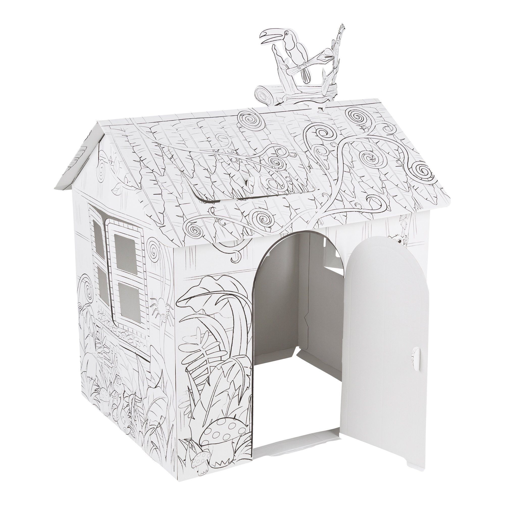 Fat Catalog DIY Kid Sized Playhouse Coloring Kit- Cardboard and Corrugated, White/Black