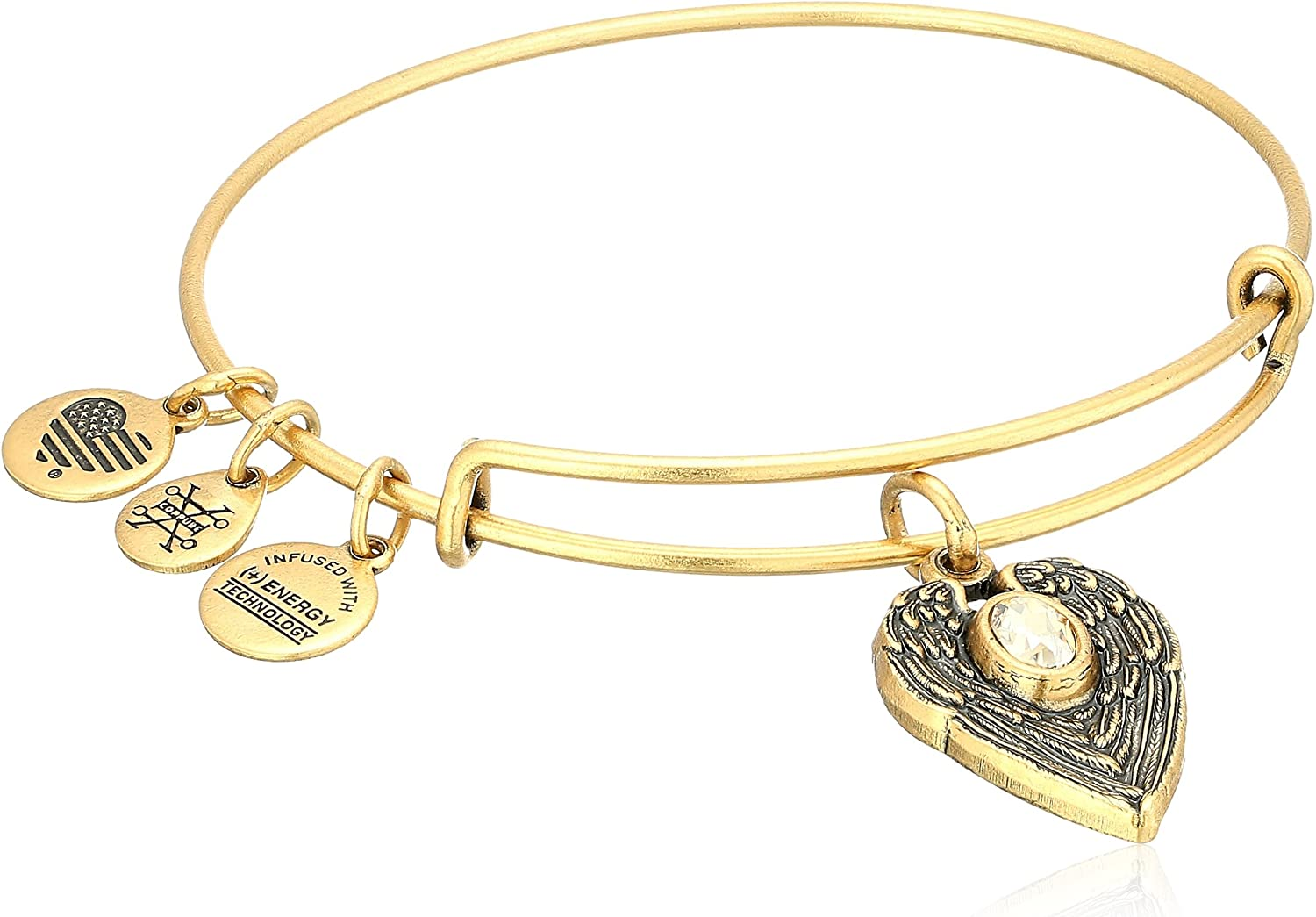 Expandable Wire Bangle Bracelet with April Charm and Angel Wing Charm Silver Finish GIFT BOXED