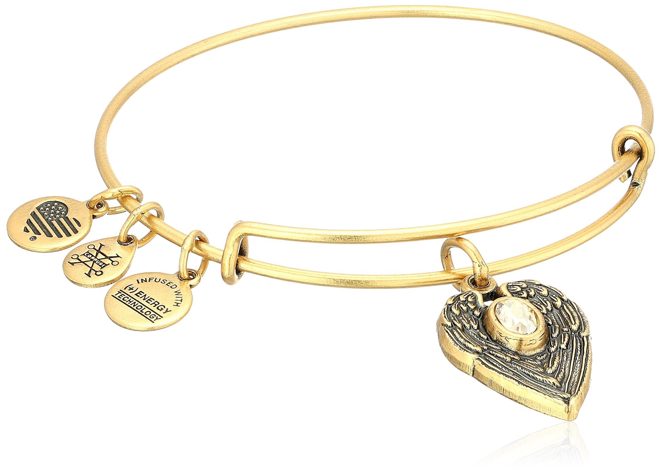 Alex and Ani ''Path of Symbols'' Guardian Angel Expandable Wire Gold Bangle Charm Bracelet
