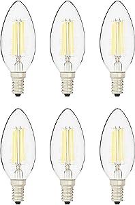 AmazonBasics 40 Watt Equivalent, All Glass, Dimmable, B11 LED Light Bulb   Daylight, 6-Pack