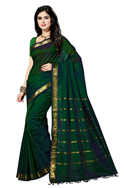 b8518f948b Rani Saahiba Hand Woven Pure Kanchi Cotton Silk Saree(SKR2859_Green):  Amazon.in: Clothing & Accessories
