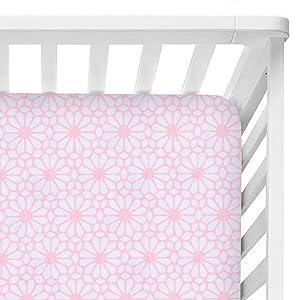World Kind - Floral Crib Sheet for Girls - 100% Organic Cotton - Boho Nursery Decor - Baby Girl or Toddler Fitted Crib Sheet for Crib Mattresses - Pink Crib Sheets for Girl - Breathable & Soft Bedding