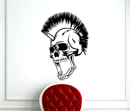 Skull Iroquois Mohawk Hairstyle Punk Wall Decal Vinyl Music Punk