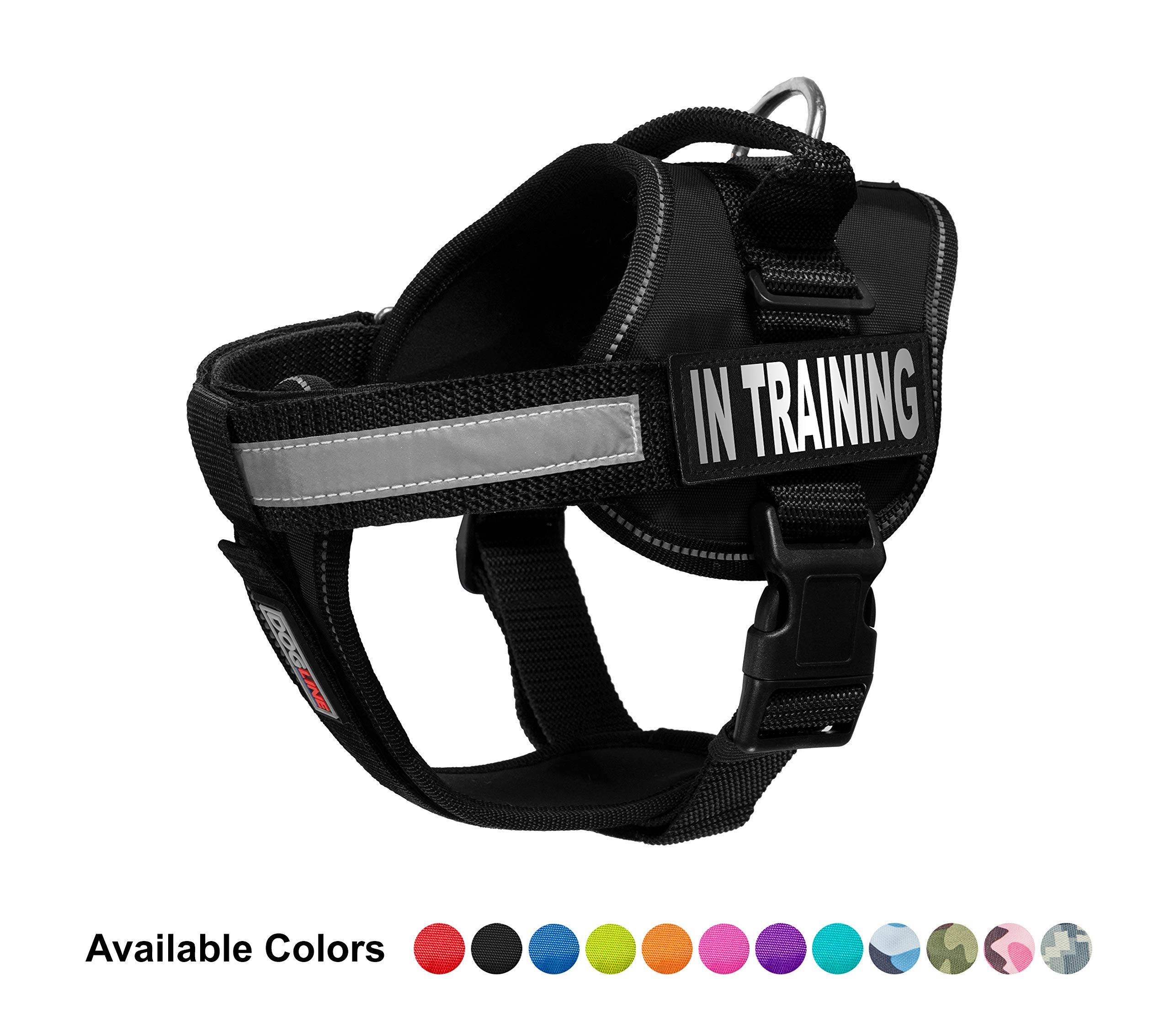 Dogline Vest Harness for Dogs and 2 Removable in Training Patches, X-Large/36 to 46'', Black