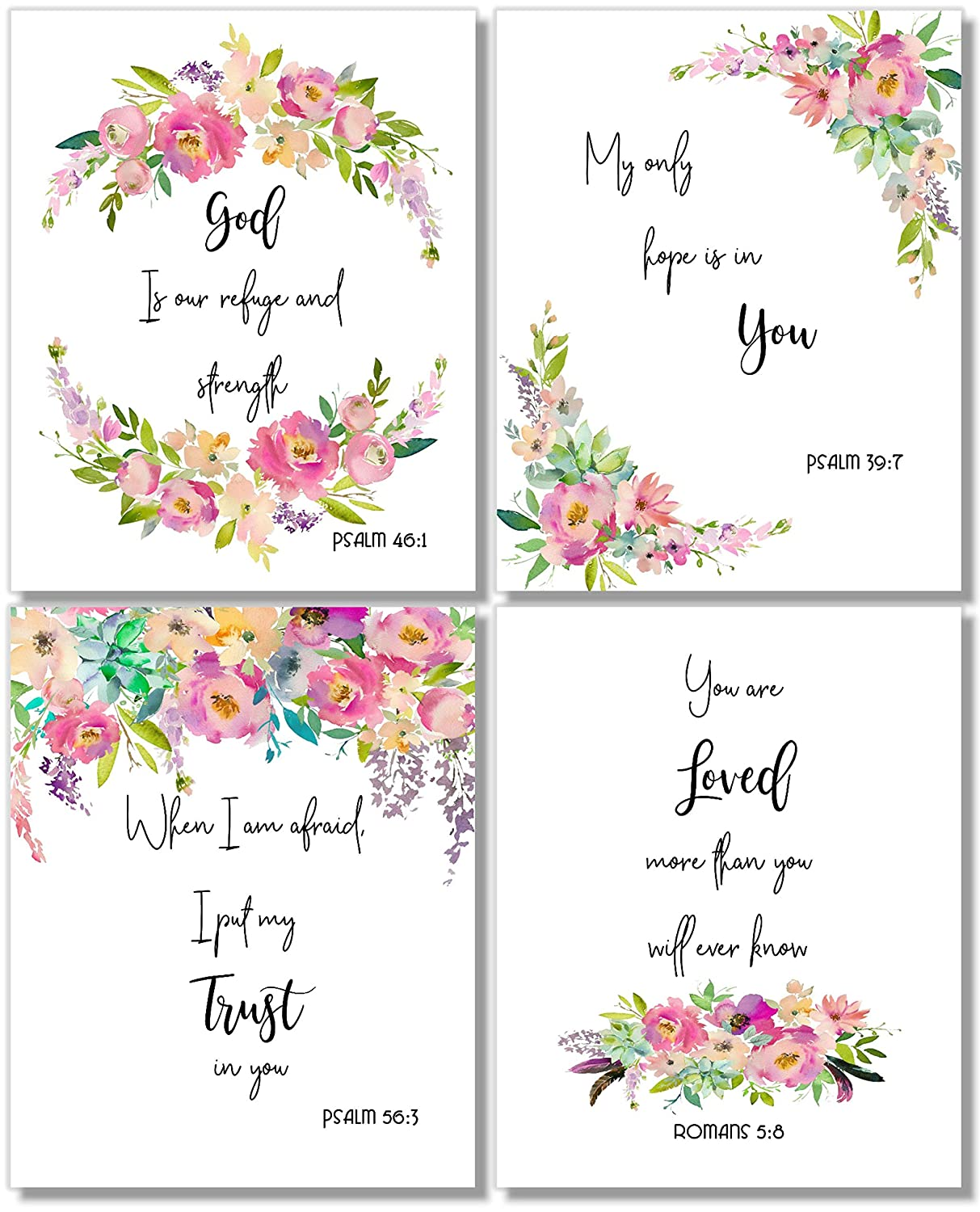 Inspirational Wall Art - God is Our Refuge (Set of 4) - Religious Prints - 10x8 - Unframed