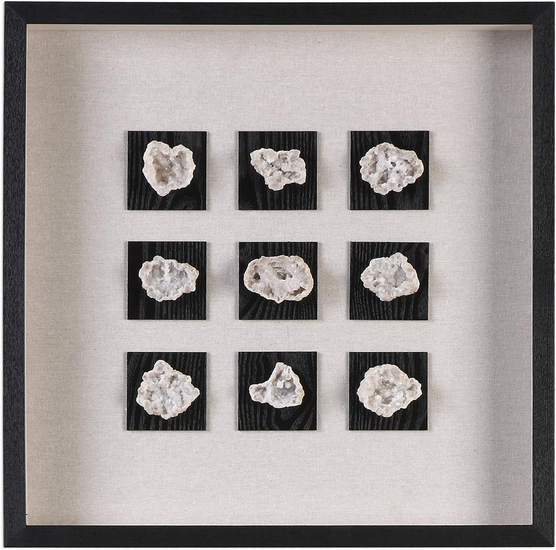 Amazon Com My Swanky Home Elegant Rock Geode Shadow Box Wall Art Natural Stone Crystal Black Frame Wall Art