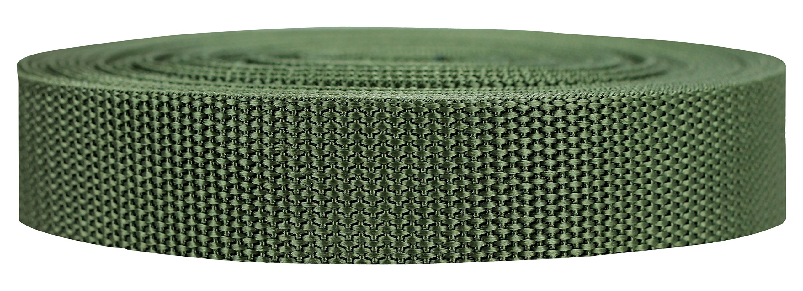 Strapworks Heavyweight Polypropylene Webbing - Heavy Duty Poly Strapping for Outdoor DIY Gear Repair, 1 Inch x 10 Yards - Olive Drab
