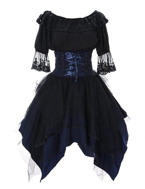 Kawaii-Story JL de 640 – 1 Azul agarre negro Rock & Blusa tul vestido