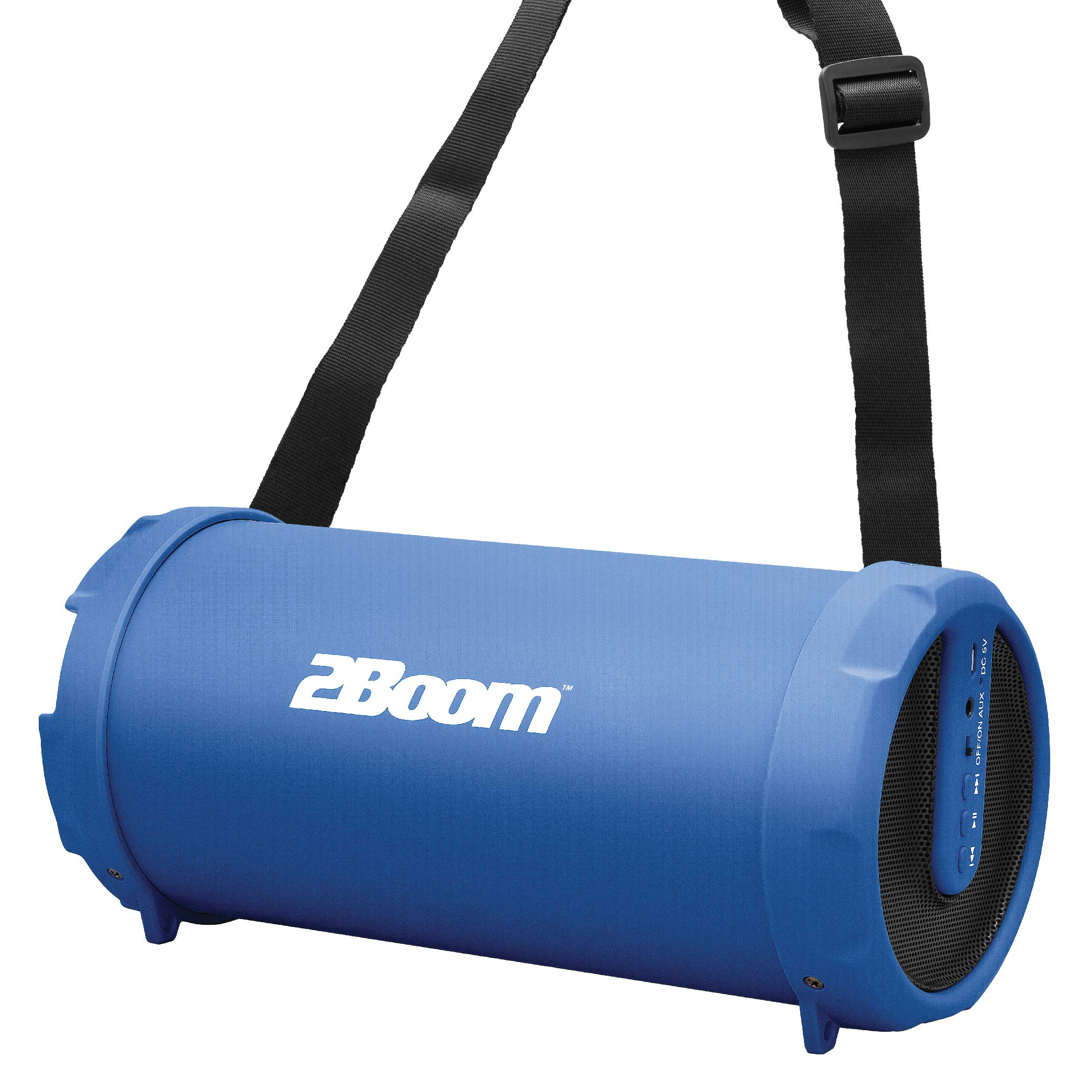 2BOOM Mini Bass King Wireless Bluetooth Portable Outdoor Speaker with FM  Radio LED Display - Blue