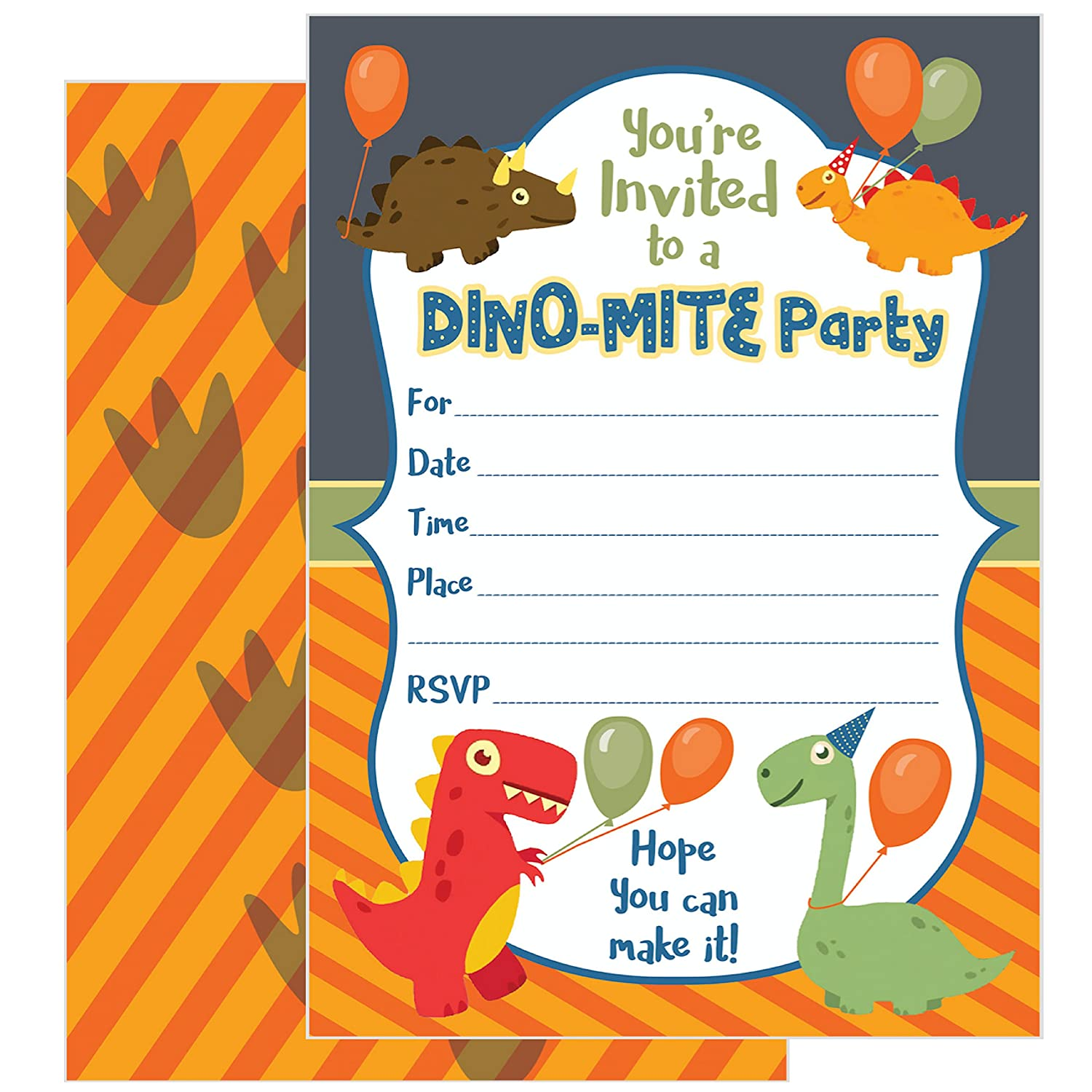 ZOLCO Prints 25 Dinosaur Birthday Invitations with Envelopes – These Kids Party Invitation Cards 5x7 inch are a Great Way to Tell Everyone About Your Boys or Girls Dino Theme Party