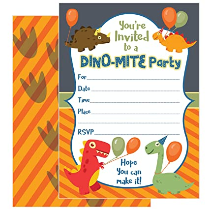 Amazon 25 dinosaur party invitations with envelopes these 25 dinosaur party invitations with envelopes these kids birthday invitation cards 5x7 inch filmwisefo